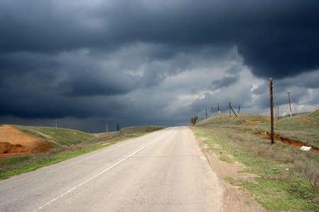 empty road on background storm sky Stock Photo - 2939254