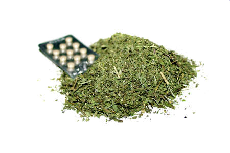 medicinal herbs and packing the tablet for treatment disease photo