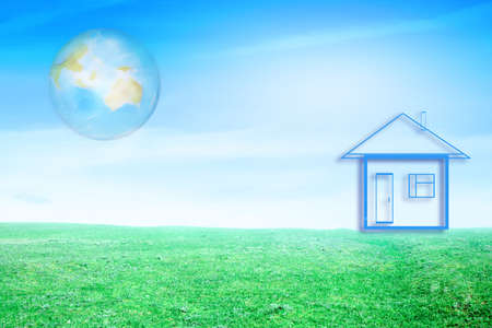 agruculture: drawn lodge and planet on background blue sky on green floor Stock Photo