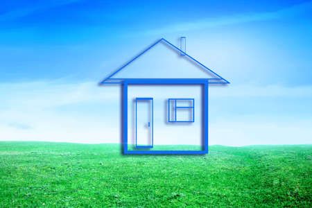 blissfull: drawn lodge on background blue sky on green floor Stock Photo