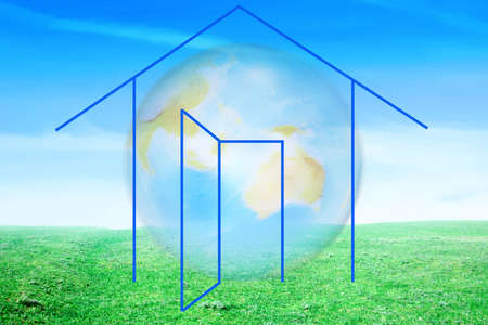 drawing of the building on background of the planet Stock Photo - 3055826
