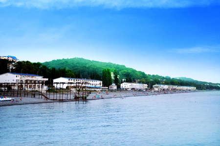 the hotels for rest on beach ashore epidemic deathes. Russia,Krasnodarskiy edge city Sochi. Stock Photo - 3055818