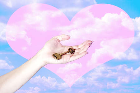 blissfull: hand with key and rose heart on celestial background