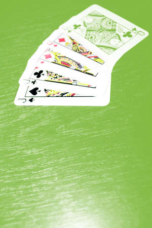 scene five cards with playing combination full house in play poker