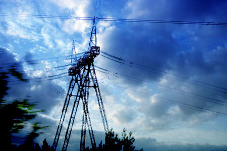 high tension: handhold high-tension on background blue sky