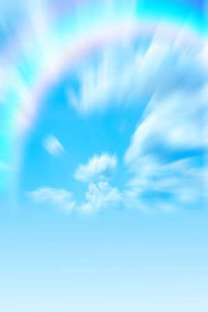 colorful cloudscape: varicoloured rainbow on blue sky
