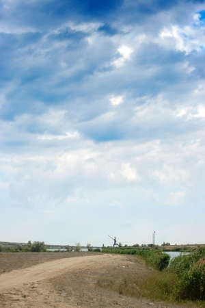 illustrates: blue sky and cloud on year rural landscape