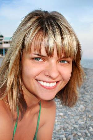 beautiful girl on sea beach photo