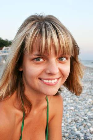 girl on sea beach photo
