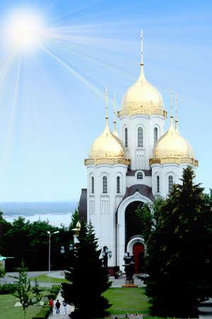 sermon: glow of the light on golden dome orthodox church