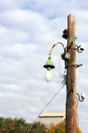 abstract scene with pole with electric lamp for illumination photo