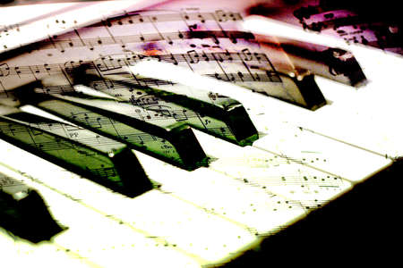 abstract scene wiyth play on piano photo