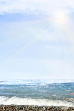 glow solar sky on beautiful sea beach photo
