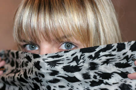 coverlet: glance of the beautiful girl Stock Photo