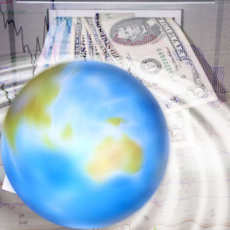 abstract scene with planet on background money sign photo