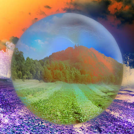 abstract scene planet on celestial background photo
