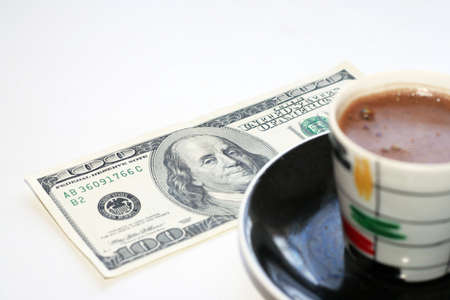 cup black hot coffee and paper bill Stock Photo - 4109451