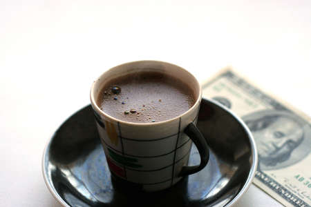 cup black hot coffee and paper bill Stock Photo - 4109448