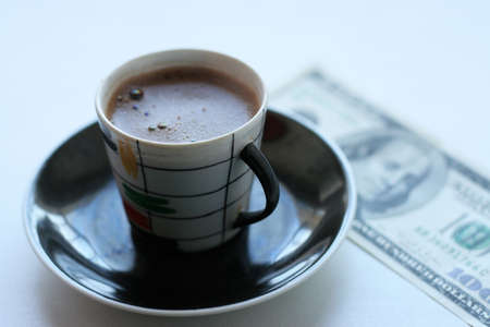 cup black hot coffee and paper bill Stock Photo - 4109446