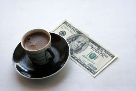 cup black hot coffee and paper bill Stock Photo - 4109472