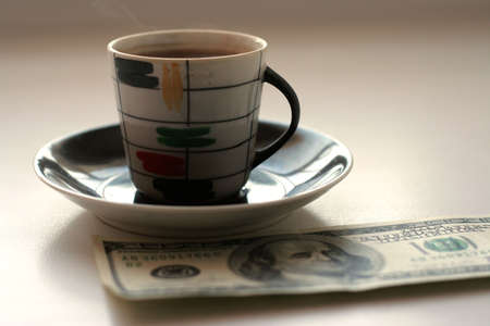 cup black hot coffee and paper bill Stock Photo - 4109454