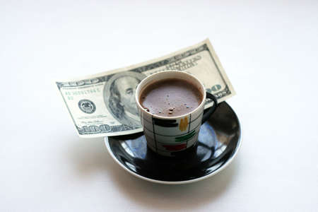 cup black hot coffee and paper bill Stock Photo - 4109449