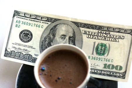 abstract scene with cup coffee and paper bill Stock Photo - 4114126