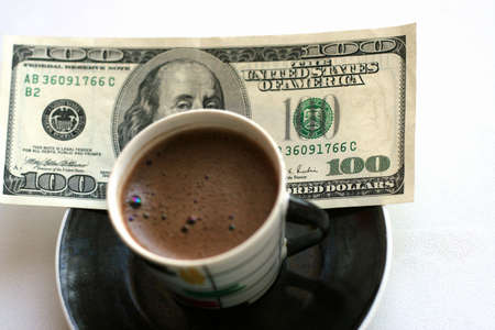 abstract scene with cup coffee and paper bill Stock Photo - 4114130