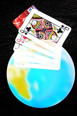 planet and playing cards for poker