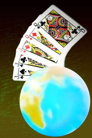 abstract planet and playing cards for poker