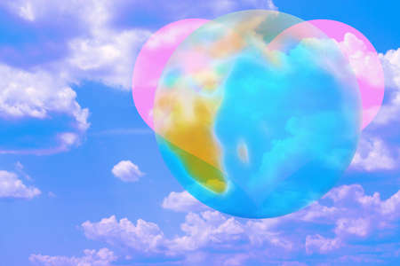 abstract scene with heart and planet photo