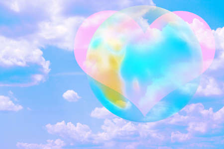 abstract scene heart and planet photo