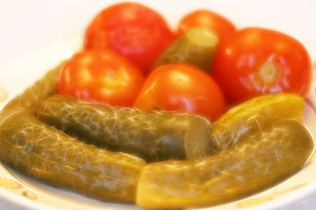 afters: abstract scene of the tomato and cucumber Stock Photo