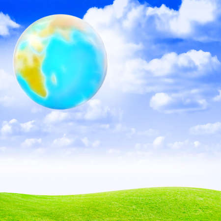 non urban scene: abstract scene planet on background of the celestial year landscape