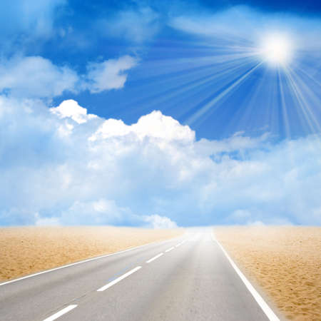 year glow sky on car road in desert Stock Photo - 4202503