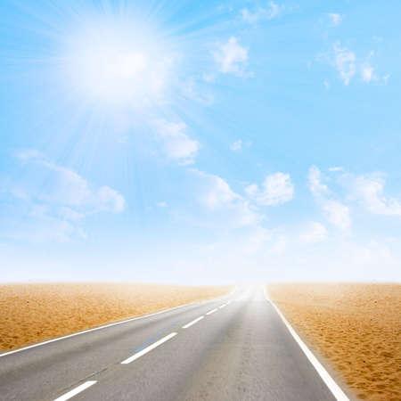 glow sky on car road in desert photo