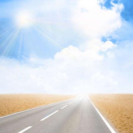 sky on car road in desert photo