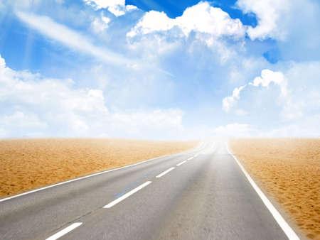year glow sky on car road in desert photo
