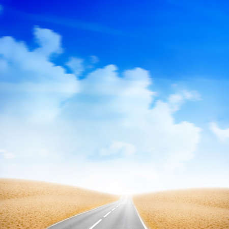 car road in desert under sky photo