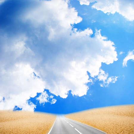 desert under brightly blue sky photo