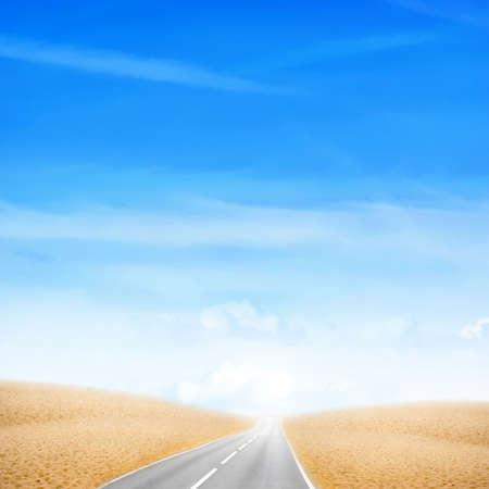 scene with desert under blue sky photo