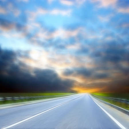 sectoring: car road under year landscape Stock Photo