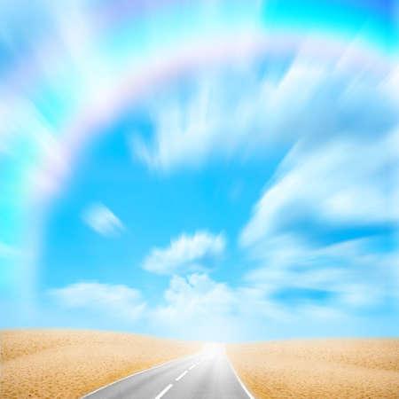 lea: road in desert under beautiful brightly blue sky