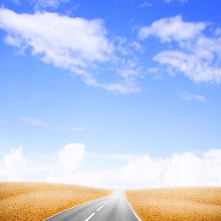 garden path: road in desert under beautiful brightly blue sky