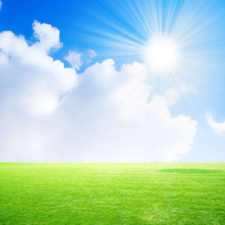 remote view: green meadow on background brightly blue shining sky