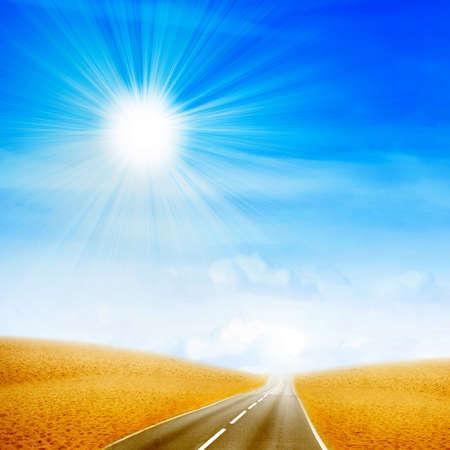 garden path: road crossing sandy desert hot daytime