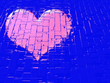 perforation: abstract scene heart on varicoloured background