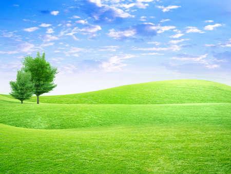 Astratto cielo Overhand prato verde sulla collina Archivio Fotografico - 4456401
