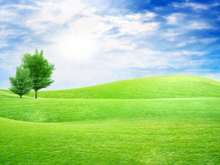 abstract sky overhand green meadow on hill Archivio Fotografico