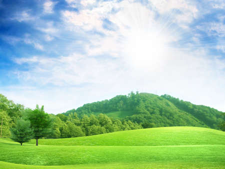 non urban: abstract sky overhand green meadow on hill Stock Photo